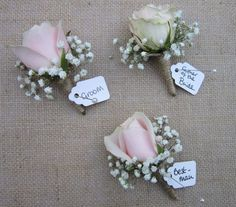 Do you like this style of buttonhole for the men? I have to admit, I almost think the pale pink roses look nicer with gypsophila than the cream rose. What do you think?