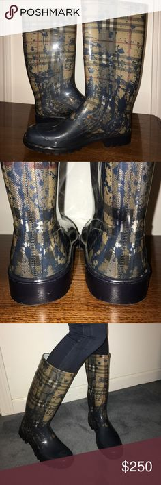 🚨Last Chance🚨100% Authentic Burberry Rainboots Burberry Rainboots ☔️  Round toe, mid calf Rainboot Rubber  Riding boot silhouette  Fabric lining  Lightly padded insole Rubber sole Made in Italy Pull on style Burberry Shoes Winter & Rain Boots