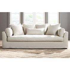 Chateau Linen Fabric Slipcover Sofa - #1V506 | Lamps Plus