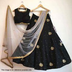 Indian Stunning Black Colored Partywear Embroidered Tapeta Silk Lehenga Choli F Lehenga Crop Top, Black Lehenga, Indian Lehenga, Silk Lehenga, Heavy Lehenga, Ghagra Choli, Anarkali, Indian Wedding Outfits, Indian Outfits