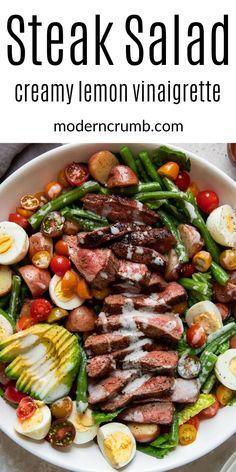 Beef Recipes, Salad Recipes, Savoury Recipes, Healthy Recipes, Hard Boiled, Boiled Eggs, Baby Potato Salad, Flank Steak Salad, Meat Salad