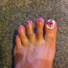 Practiced another idea; used thin strip of tape on angles and painted red and pink over white; big toe a temp tattoo over white