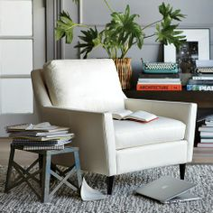 For the master bedroom.  Cozy reading nook...  PS - I have this chair.  It sits low and is super comfortable.  The leather is delicious.