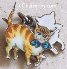 Private Collection Charms : eCharmony.com Shield Charms, Vintage Enamel Travel Shield Charms