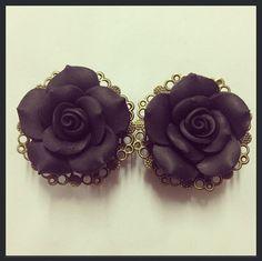 Black Filigree Rose Ear Plugs by TeacupRose on Etsy, $30.00