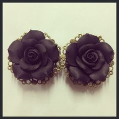 Black Filigree Rose Ear Plugs by TeacupRose on Etsy, $30.00