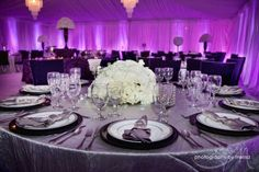 Marvelous setup at this #purple #uplighting  #reception!