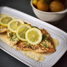 Sautéed white fish in a creamy lemon dill sauce.