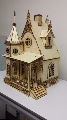 LASER CUT  Jasmine Gothic Victorian Cottage Dollhouse 1:24 half inch scale KIT