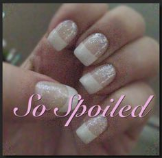 Bio Sculpture Gel Nails in an elegant medium squoval natural French with opal glitter. Classic for everyday or any event. Spring Summer 2013