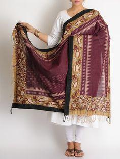 Buy Maroon-Beige Cotton Ikat Hand Painted Kalamkari Dupatta Online at Jaypore.com