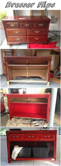 Dresser Flips, I love this. I have seen so many old sturdy dressers like this. Would make a nice entry table.