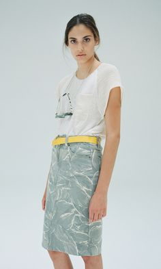 Objects Without Meaning - botanical print denim skirt (spring 2014)