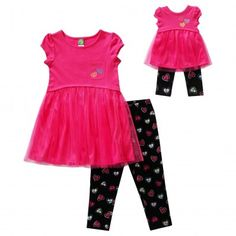 """""""Sweet Hearts"""" Legging Set with Matching Outfit for 18 inch Play Doll. She will be full of love with Dollie wearing this """"Sweet Hearts"""" Legging Set."""