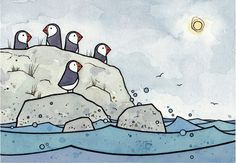 Puffins by the sea, a whimsical print from my watercolor and ink illustration. High quality art print Signed and dated Prints come in white acid-free mats (standard sized and ready to stick in a frame