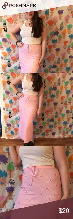 """Vintage 90s pastel pink butterfly maxi skirt 🌸 Super sweet pink butterfly drawstring maxi 🦋brand: step by step usa. Stretchy sz S. Waist: 24-32"""" stretched Length: 37"""" Great condition save faint dirt spots on knee of lining- not very visible thru top layer- 4th pic for details! Such a cute piece, snag it before I change my mind! Skirts Maxi"""
