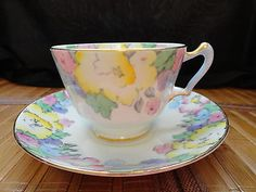 CROWN STAFFORDSHIRE Bone China Cup & Saucer Flowers yelllow, pink, blue, violet