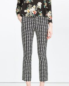 Love the cropped trousers with the flare and the contrast with the floral top. ZARA