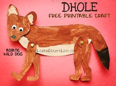Asiatic Wild Dog (Dhole) Printable Craft | LearnCreateLove.com