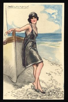 1918 postcard illustration by Lucien-Achille Mauzan - Woman in black swimsuit leaning on boat in the beach (Wolfsonian Digital Gallery)