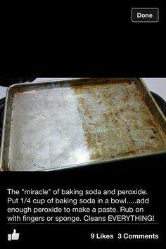 Miracle Cleaner- Put cup of baking soda in a bowl.add enough peroxide to make a paste. Rub on with fingers or sponge. Cleans EVERYTHING! Stove, oven, pans, stainless steel applicances, even the white handles of the refrig door. Do It Yourself Organization, Organization Hacks, Kitchen Organization, Cleaners Homemade, Diy Cleaners, Cleaning Solutions, Cleaning Hacks, Cleaning Supplies, Cleaning Recipes