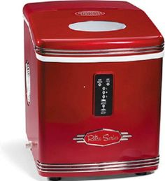 Red Retro Portable Ice Maker Machine Countertop Cube Kitchen Nostalgia ...