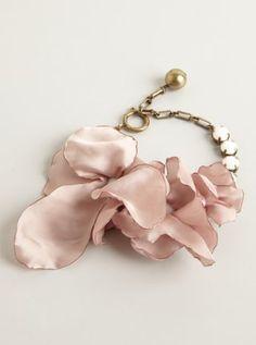 Lanvin pink fabric flower and rhinestone covered metal bracelet! Metal Bracelets, Love Bracelets, Pink Fabric, Fabric Flowers, Pantone Color, Lanvin, Diy Jewelry, Jewellery, Wedding Colors
