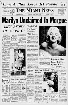 """Newspapers ©: """"Marilyn Monroe Dead"""" [""""Miami News"""", Aug. Marilyn Monroe Photos, Marylin Monroe, Vintage Newspaper, Newspaper Layout, Newspaper Headlines, Drame, Norma Jeane, Rare Photos, History Facts"""