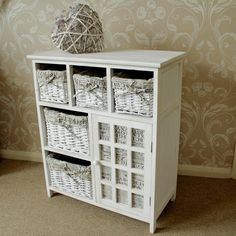 wooden wicker storage unit shabby vintage style chic home furniture cream | eBay