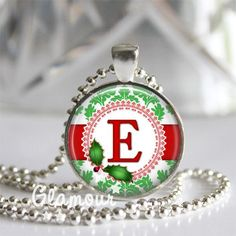 Personalized Christmas Holiday Damask Silver Bezel Glass Tile Pendant | c0nfus3dgurl - Jewelry on ArtFire