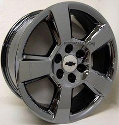 "Set 4 20"" Black Chrome 5 Spoke LTZ Silverado Z71 Suburban Tahoe Wheels Rims"
