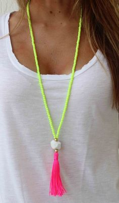 Long Beaded Necklace- Neon Yellow necklace - Hot pink Tassel