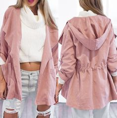 Easy, breezy, draw string at the waist, full hooded, baby pink jacket! Made with a perfect cotton/spandex blend it gives any outfit a pick me up.   Our new favorite outerwear item! We know it will be yours too!