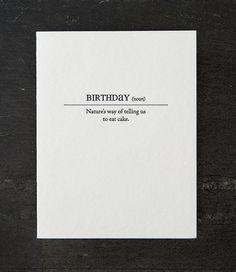 birthday definition. letterpress card. by shopsaplingpress on Etsy