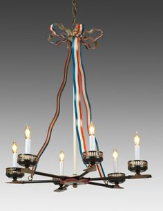 Style#LCFI-66a-Tole Napoleonic campaign style six light chandelier. Shown in red, white and blue with black and gold accents.