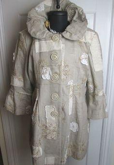 Gorgeous BOHO CHIC White and Ivory Patchwork Coat Lined Jacket New Size 12 #BohoChic #BasicJacket