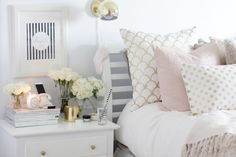 Grey and rose gold bedroom pink and white bedroom white room decor Deco Rose, My New Room, Dream Bedroom, Dream Rooms, Room Inspiration, Bedroom Decor, Bedroom Ideas, Bedroom Bed, Master Bedroom