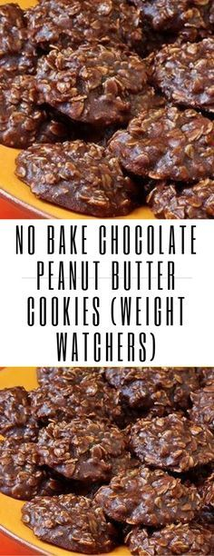 No Bake Chocolate Peanut Butter Cookies (Weight Watchers) ( butter desserts, No Bake Chocolate Peanut Butter Cookies (Weight Watchers) Weight Watcher Cookies, Weight Watchers Snacks, Peanut Butter No Bake, Chocolate Peanut Butter Cookies, Peanut Cookies, Chocolate Cake, Clean Eating Snacks, Healthy Snacks, Healthy Drinks