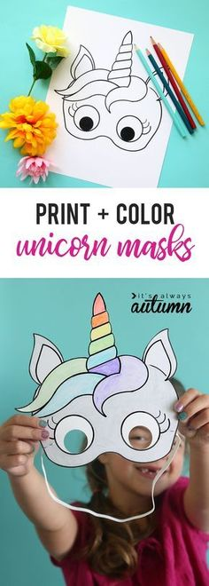 Adorable free printable unicorn masks that kids can color in themselves. Cute and easy kids' craft idea! Eenhoorn maskeren knutselen en rekenen