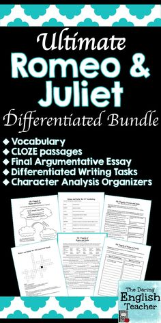 This Ultimate Romeo and Juliet Differentiated Bundle includes everything you need to teach Romeo and Juliet to your students. ELL differentiation is built into the unit. This unit includes vocabulary activities and quizzes, differentiated writing tasks that can be used as assessments, CLOZE passages, and more!