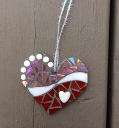 Pink & red sweetheart mosaic ornament - Glass Needle Works
