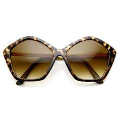 Womens Pentagon Designer Inspired Oversize Fashion Sunglasses 8908   zeroUV