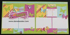 Two Page Scrapbook Layout Penelope Workshop Spring happy Fun Girl Easter  #scraptabulousdesigns  #scrapbooking #cricutlayouts