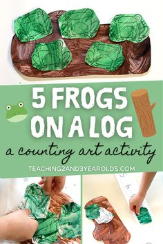 Build counting skills with a fun frog art activity! After painting the pieces, place the frogs on a timeline to count and then glue onto the log. Free printables included! #frogs #circletime #toddlers #preschool #teachers #classroom #earlychildhood #printables #counting #spring #painting #AGE2 #AGE3 #teaching2and3yearolds Preschool At Home, Toddler Preschool, Preschool Teachers, Preschool Ideas, Spring Activities, Activities For Kids, Frog Puppet, Some Sentences, Sentence Strips