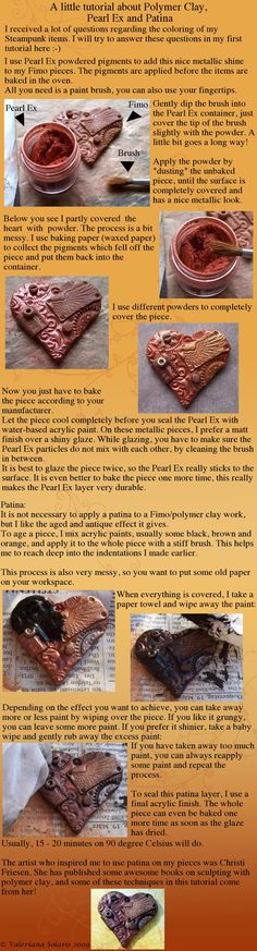 from another pinner: I received a few questions regarding the techniques I use to finish my polymer clay pieces, mainly from dear and , and these two inspired me to write my very first tutorial. I hope some of you migh...