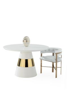 The Band Side Table, paired together with the Art Dining Chair combines clean lines and neutral tones, creating a modern, clean, living or dining room look. Led Furniture, Furniture Dining Table, Indoor Outdoor Furniture, Table And Chairs, Dining Chairs, Side Chairs, Round Marble Table, Dinning Set, Decoration