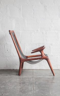 The Sling Chair by Fernweh Woodworking - Walnut & Black Leather