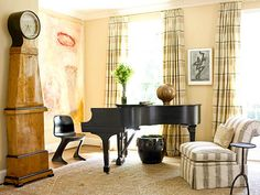 Elegant Edge - but arranging a living room with a Grand Piano can be quite challenging