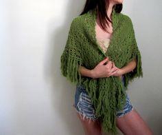 Vintage Green Shawl Knit Crochet Woven Fringe Bohemian Gypsy See Through via Etsy