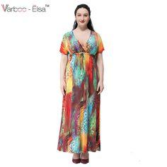 Sexy Women Bohemian V Neck Water Color Printed Maxi Dress Plus Size Maxi Dresses, Sexy Dresses, Casual Dresses, Floral Maxi Dress, Boho Dress, White Collar Dress Shirt, Party Vintage, Boho Summer Dresses, Summer Maxi